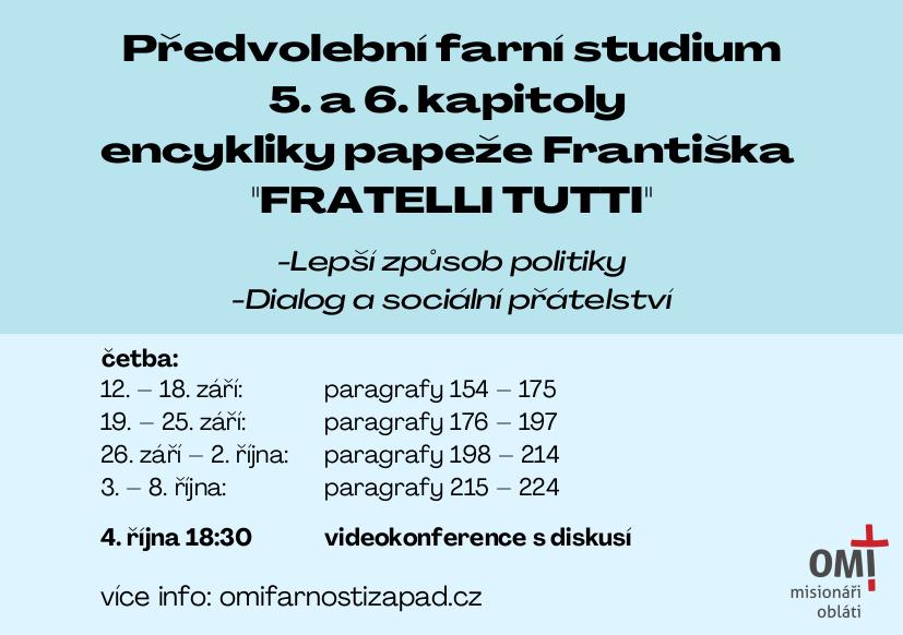 """Read more about the article Předvolební farní studium """"FRATELLI TUTTI"""""""