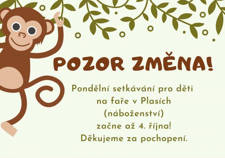 Read more about the article POZOR! Změna pondělního setkávání dětí