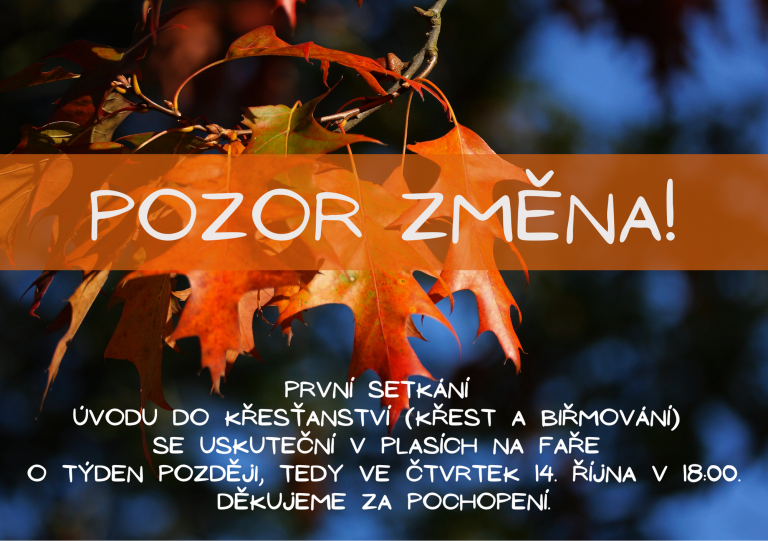 Read more about the article Pozor! Změna!